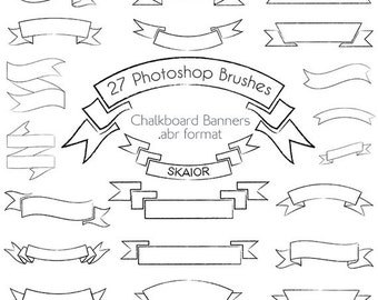 Chalkboard Banner Photoshop Brushes Banner Brushes Web Ribbons Wedding Invitations Valentines Day Scrapbooking Baby Shower Christmas Tags