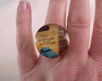 Tower of Pisa retro car 25mm glass cabochon ring clearance