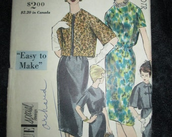 1960 VOGUE Special Design PATTERN -ONe-Piece Dress and Reversible Jacket