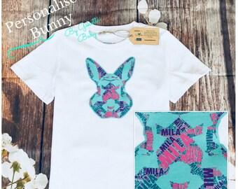 Personalised Bunny Rabbit Name Kids & Baby  Birthday Gift T-shirt, One-piece, Romper, Bodysuit, Onesie, Custom Made Print