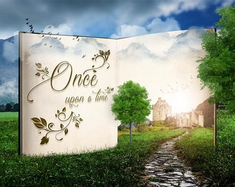 open Book, Once upon a time, premade Backdrop, Photoshop Background, Story Telling, Fairy Tale, Fantasy Art, children photo edit, Fairy Tale