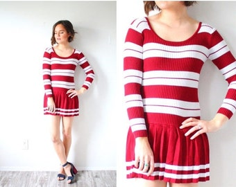 15% OFF MEMORIAL DAY sale Vintage retro striped maroon red dress // 60's maroon summer dress // long sleeve mini dress // nautical striped d