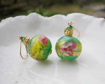 Green Murano Glass Rosebud Earrings