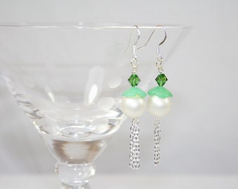 Faux Pearl Dangle Earrings Vintage Elements Swarovski Crystals Handmade Handcrafted Wedding Any Occasion
