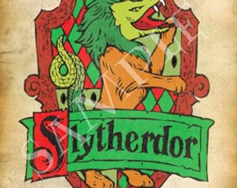 Slytherdor Cross-House Crest Postcard
