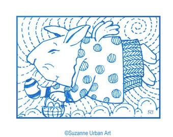 ACEO Rabbit Print, Rabbit Illustration by Suzanne Urban Art