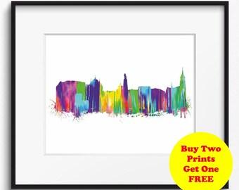 Lodz Skyline Watercolor Art Print (358) Cityscape Poland