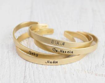 Personalized Bracelet, Custom Gold Brass Bracelet, Custom Phrase or Name, Custom Bracelet, Personalized Cuff Bracelet, Mantra, Custom Quote
