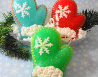 Christmas Mitten Soap - Holiday Soap - Stocking Stuffer Soap - Handmade Soap - Artisan Soap -  Christmas Soap - Winter Soap -  Glycerin Soap