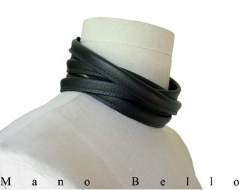 Leather Choker, Minimalist Leather Choker Necklace, 5 Wrap Leather Wrap Necklace, Black Leather Scarf, Men, Women, custom made to fit