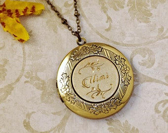 Hand Engraved Grandma, Grandmother,  Mimi Custom Name Locket Includes Your Photo and Personal Message