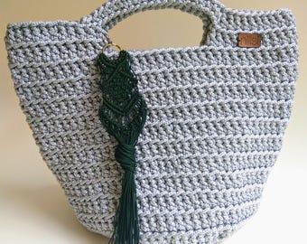 Silver Crochet Bag, Knitted Rope Bag, Market bag,Crhochet Big Bag, Handmade Bag, Crochet Shoulder Bag