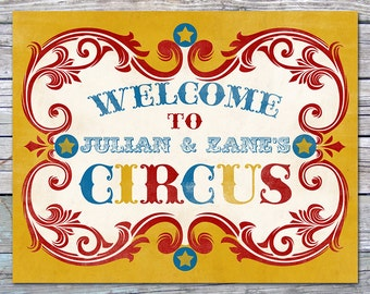 Vintage Circus Birthday Welcome Sign - Children's Decor - Carnival - Bedroom, Playroom Decor - DIGITAL file, Personalized, Printable designs