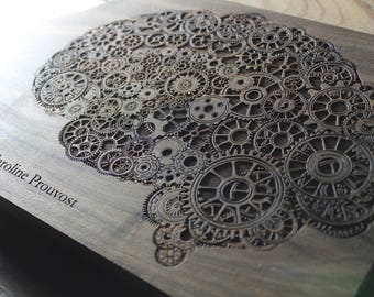 Personalized Cutting Board, Steampunk Brain Cutting Board, Brain Art, Psychology Art, Psychology Gifts, Brain Gift, Doctor Gift, Physician