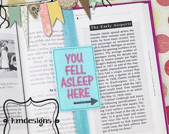 Fell Asleep Bookmark,  planner ITH Embroidery Feltie digital design file