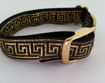 "1"" wide Metal Buckle Dog Collar - Metallic Greek Scroll, Plastic Buckle"