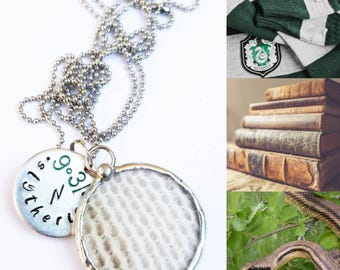 Necklace inspired by Slytherin. Pendant Slytherin handstamped. For lovers of Harry Potter. Snake skin. Witch Necklace. Cruelty free.