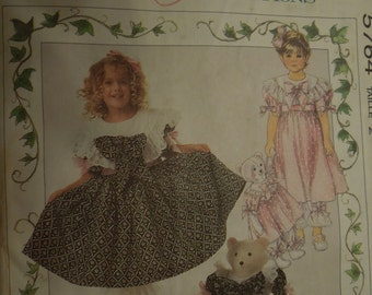 McCalls 5764, size varies, girls, childrens, dress , pantaloon, bear & clothes, UNCUT sewing pattern, craft supplies
