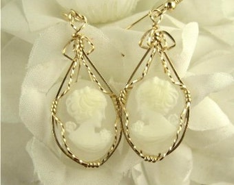 WSE-0023 Lady Cameo Earring Wire Wrapped in 14k Gold Filled Wire