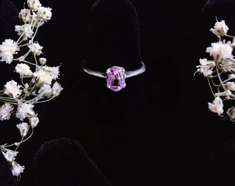 Pink Tourmaline Sterling Silver Ring Size 5-7