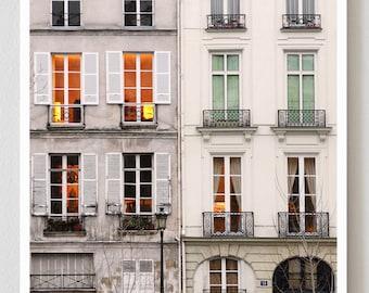 "Paris Photography, ""Windows at Dusk"" Large Art Print, Travel Wall Art, Living Room Fine Art Photography Paris Print, Modern Art"