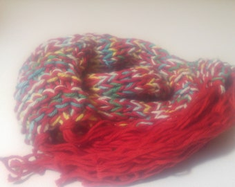 Hand Knit Red Cotton Scarf- Lightweight & Brightly Colored