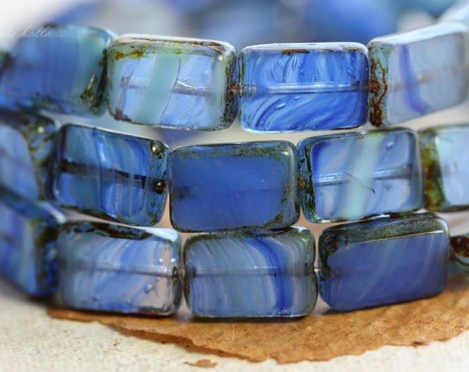 FLOW .. 10 Picasso Czech Glass Rectangle Beads 12x8.5mm (B1035-10)