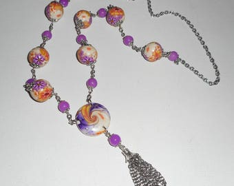 Purple flowered clay beads necklace orange with colorful jade stone