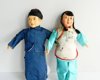"""Vintage Asian Composite Dolls - Boy and Girl - 2 Sets of Authentic Silk Clothing - 13"""" High - Set of 2"""