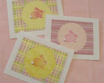 3 Note Cards, Bunny, Rabbit, Easter cards, pastel