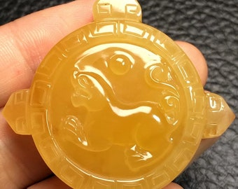 Ukraine Honey Amber Butterscotch yellow pendant Chinese dragon with the certificate 9.5 g