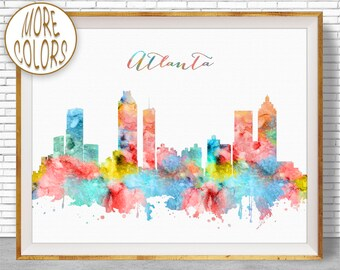 Atlanta Georgia Atlanta Print Atlanta Skyline Office Decor Office Art Watercolor Skyline Travel Art Prints ArtPrintZoneGift for Women