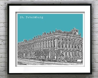 20% OFF Memorial Day Sale - Saint Petersburg Russia Poster Hermitage Building Item T1238
