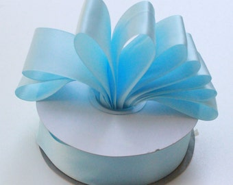 Sky Blue Double Faced satin Ribbon 2.25 inches wide - Sky Blue Satin Ribbon - Satin Ribbon Sky Blue - Ribbon Sky Blue Satin