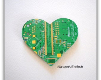 Heart Silhouette Cut Out of Recycled Circuit Board - Choose Option: Magnet, Pin or Hanging Ornament