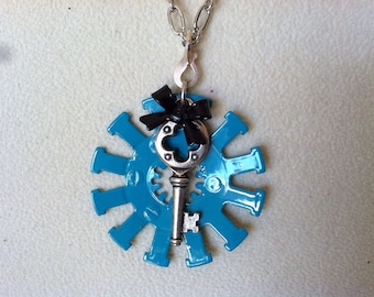 Turquoise gear steampunk necklace