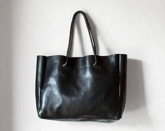 Black Leather Shopper, Leather Tote, Shoulder Bag, Black Leather Bag, Leather Bag, Leather Handbag, Black Tote, Vegetable Tanned Leather Bag