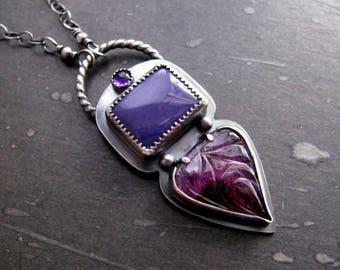 Sterling Silver Pendant Necklace, Purple Pink Pendant, Gemstone Pendant, Ultra Violet, Tourmaline, Charoite Pendant