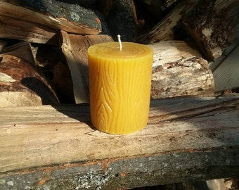 Michigan Beeswax Candles - Wood Grain Cylinder Pillar - Novelty Candle - Rustic Decor - Decorative Candle