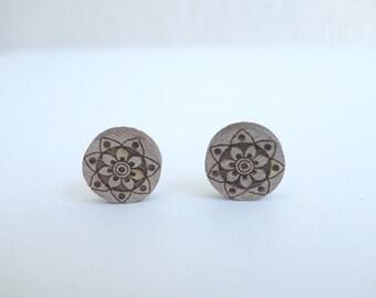 original woodcut Mandala earrings