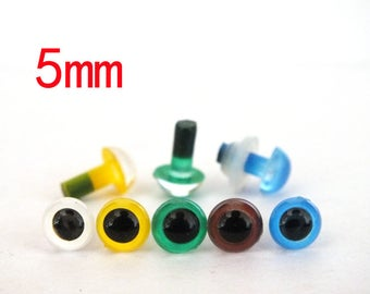 mixed color Non-toxic Plastic Eyes with white washer for Stuffed Doll --5mm-50pcs-Each color 10pcs