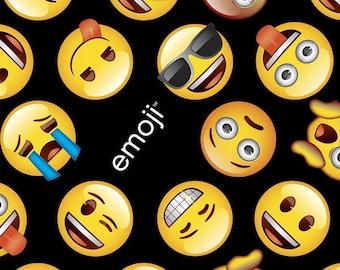 Emoji Fabric, Black & Yellow Emoji Print, Happy Faces, David Textiles Quilting Cotton, by the Half Yard