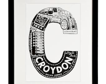 Croydon print  - London print - London poster - London Art - Typographic Print - London illustration - letter art - South London poster