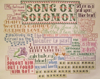 Finished Cross Stitch - King James - Bible Art - Song of Solomon - Old Testament Art - Ready To Frame - One-of-a-Kind - with Free Shipping