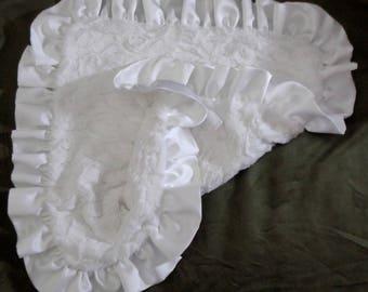 Blanket with Satin Ruffle - Minky Blanket -  Dog Blanket - Baby Blanket