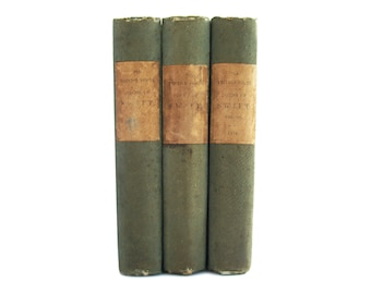 Poems of Jonathan Swift - antiquarian three volume set from 1854- Free US Shipping