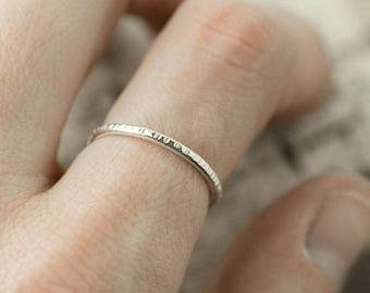 Bark Textured Sterling Silver Ring Band - Hammered Stacking Ring Silver - Stack Ring - Minimalist Ring Handmade - Gift for Her