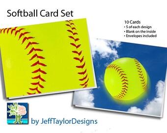 Softball Stationary Notecard Set - 10 Notecards with Envelopes (Blank Inside)