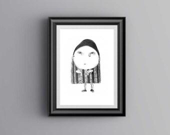 "Printable Art, Figurative, Digital Print 8.5"" x 11"", Hand Drawing, Black and White Drawing"