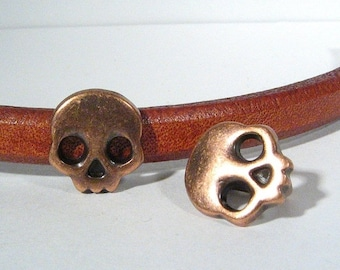 Regaliz Skull Spacers - Antique Copper - SP35 - Choose Your Quantity